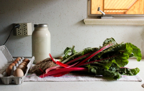 raw milk, swiss chard, pastured eggs
