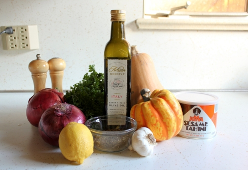 ingredients for winter squash with tahini and za'atar