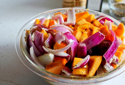 winter squash and red onions