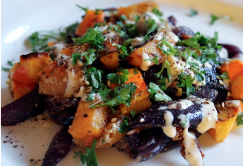 paleo winter squash with tahini and za'atar